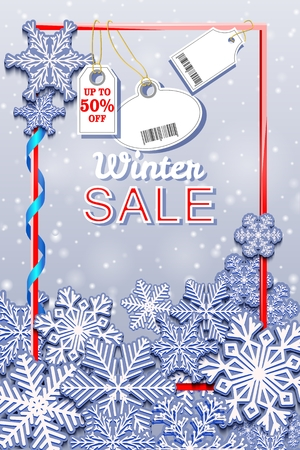 Winter Sale vertical banner with snowfall and tags. Barcode does not contain links to products and websites. Vector illustration. Illustration