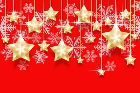 Christmas seamless horizontal pattern with hanging gold stars and snowflakes. Bright New Years border for design vector illustration.