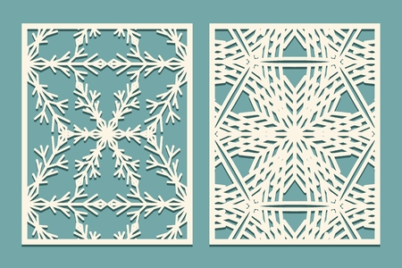 Die and laser cut decorative panels with snowflakes pattern. Laser cutting ornate lace borders patterns. Set of Wedding Invitation or greeting card templates vector illustration.