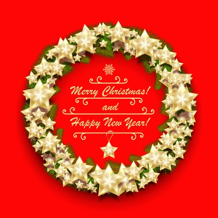 Christmas wreath with stars and fir branches. New Year greeting background. Vector illustration.
