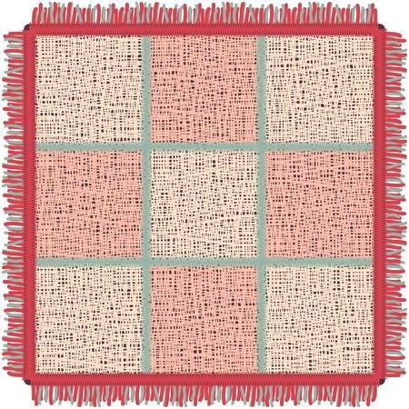Roze yogamat met franje. Vierkant tapijt in de kooi. Vector illustratie Stock Illustratie