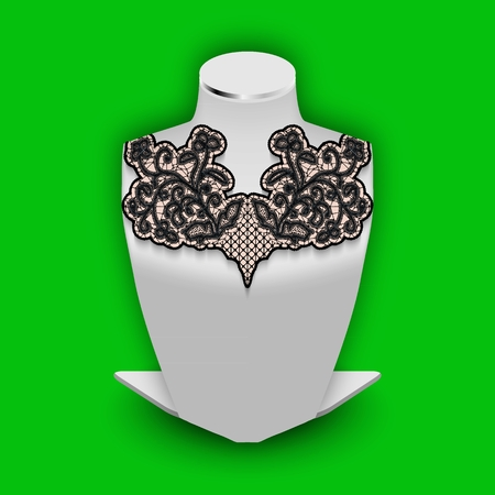 Stand dummy with demonstration lace flower element. Black tracery pattern on realistic white mannequin Vector Illustration Illustration