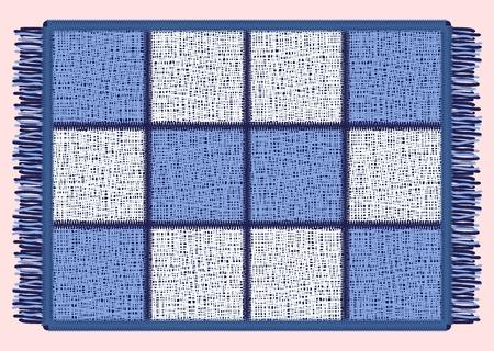 Blue mat with fringe. Rectangular rug in the cell. Vector illustration. Ilustração