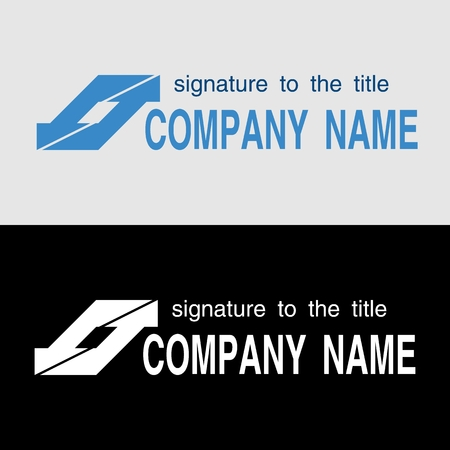 Logo template with oblique arrows on light and on a black background. Sample of design for stock Exchange company. Vector illustration. 일러스트