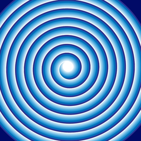 Hypnotic blue spiral abstract optical illusion coil swirl. Circular pattern background of rotating circles or psychedelic hypnosis lines in motion. Vector illustration
