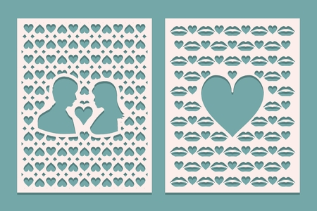Set of die laser cutting panels with openings in the form of silhouettes for Valentines day. May be used for laser cut. Openwork background. Vector illustration