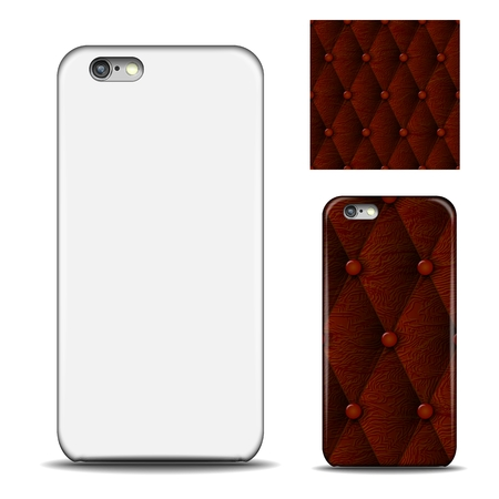 Phone cover. Reverse side of smartphone. Leather texture pattern for design. Mock up with an example. isolated on white background Vector illustration