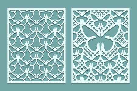 Die and laser cut decorative lace panels patterns with butterflies. Set of bookmarks templates. Cabinet fretwork panel. Laser Cut metal screen. Wood or paper carving. Vector illustration