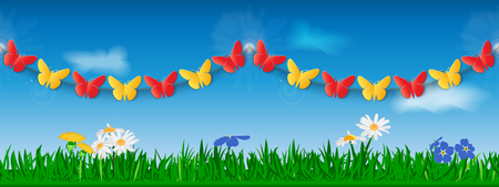 Seamless garland of red and yellow paper butterflies against the background of grass, flowers and sky. Template for site header or banner. Vector illustration.