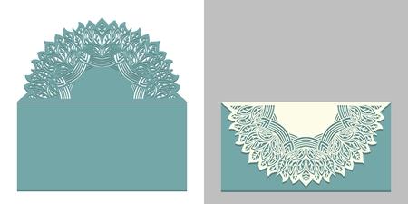 Laser cut paper lace envelope with mandala element. Cutting template for wedding invitation or card designs. Vector illustration Ilustração