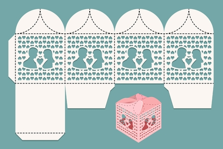 Box for wedding gifts for guests and newlywed. Cutting pattern and view of the assembled box. Vector illustration Vettoriali
