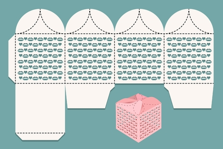 Box for gifts and greetings. Cutout pattern and view of the assembled box. Vector illustration. Vettoriali