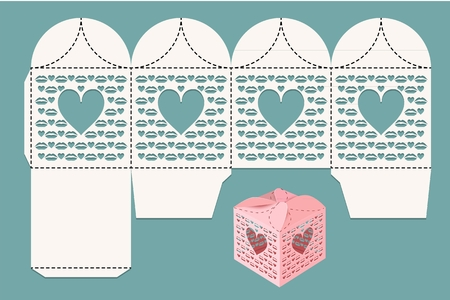 Box for wedding celebrations. Layout for cutting and visualization. Vector illustration. Vettoriali