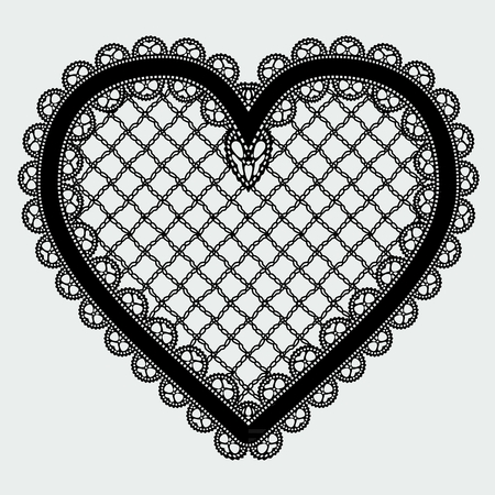 Black lace mesh heart. Feminine luxury element for the design of invitations, postcards or decoupage. Vector illustration. Ilustrace
