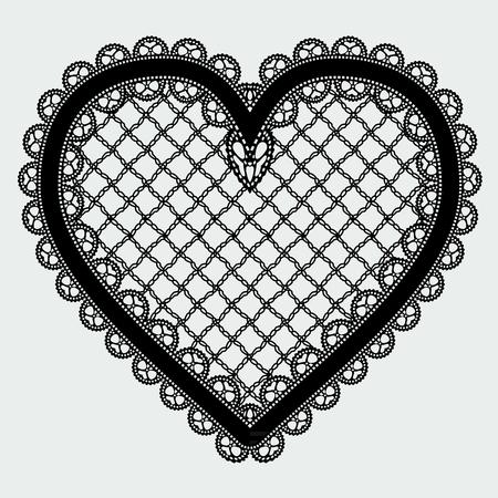 Black lace mesh heart. Feminine luxury element for the design of invitations, postcards or decoupage. Vector illustration. Illustration