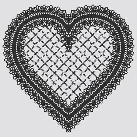 Élément de dentelle en forme de coeur. Illustration vectorielle Vecteurs