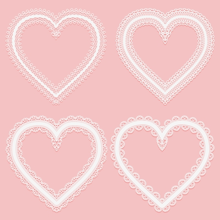 Set of frames of white wide lace ribbons in the shape of a heart. Vector illustration
