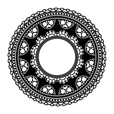 Circular openwork frame. Lace element isolated on white background. Silhouette for laser cutting. Vector illustration. Illustration