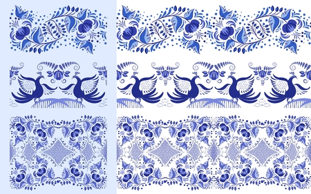 Set of blue ethnic patterns in the style of national porcelain painting. Ornaments with flowers and birds isolated on white. Vector illustration Ilustrace