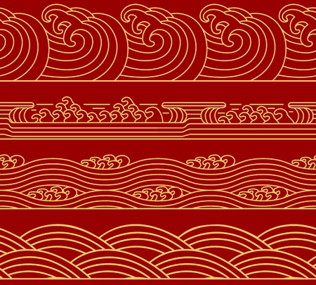 Water Chinese Sea collection, ocean waves theme, trendy retro seamless horizontal pattern. Asian Japanese style for design. Vector illustration