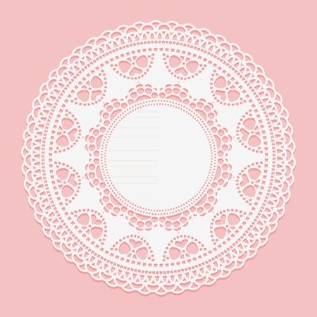 Napperon blanc ajouré. Élément de cercle de cadre en dentelle blanche sur fond rose. Illustration vectorielle