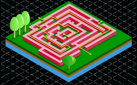 Isometric 3D maze tile with arrow solution. Labyrinth on the green grass on a black background. Vector illustration