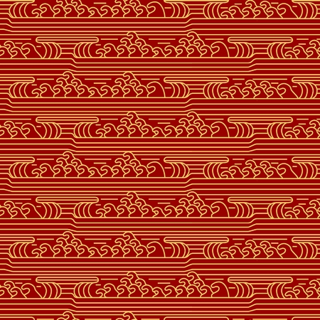 Seamless pattern sea in Asian style. Water waves background. Vector illustration