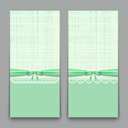Lacy green cards with ribbon and bow. Template for wedding invitations, congratulations newborn and labels for the textile industry. Vector illustration.