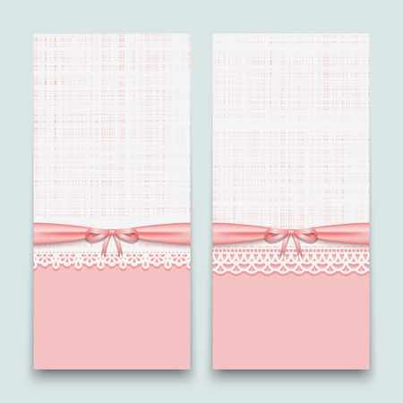 Lacy pink cards with ribbon and bow. To design wedding invitations, congratulations newborn and labels for the textile industry. Vector illustration. Ilustrace