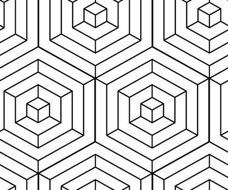 Seamless isometric pattern. Monochrome black lines optical illusion. Vector illustration Ilustração Vetorial