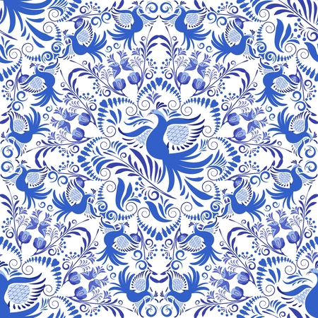 Seamless Blue and white pattern. Background of circular ornaments with birds and flowers. Design in the style of folk painting on porcelain. Vector illustration.