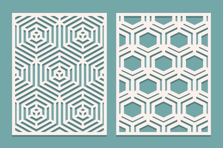 Set of Die cut card. Laser cut ornamental panels with geometric pattern. Suitable for printing, engraving, laser cutting paper, wood, metal, stencil manufacturing. Vector illustration