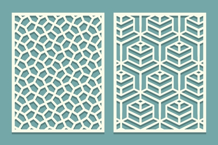 Set ornamental card for laser cut. Geometric mosaic line pattern.Laser cutting decorative ajour borders patterns. Set of Wedding Invitation or greeting card templates. Vector illustration