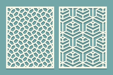 Set ornamental card for laser cut. Geometric mosaic line pattern.Laser cutting decorative ajour borders patterns. Set of Wedding Invitation or greeting card templates. Vector illustration