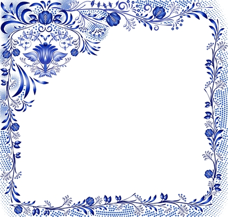 Blue floral pattern with flowers on a white background in the style of national porcelain painting. Square frame with corner element. Vector illustration.