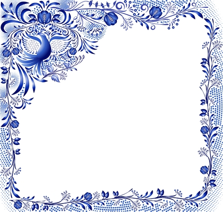 Blue pattern with a bird and flowers on a white background in the style of oriental porcelain painting. Square frame with corner element. Vector illustration.