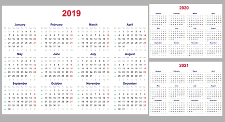 Calendar grid for 2019, 2020 and 2021 years set. The week starts on Monday. One day off - Sunday. Simple horizontal template in English. Vector illustration