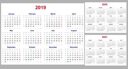 Grille de calendrier pour les années 2019, 2020 et 2021 définies. La semaine commence le lundi. Un jour de congé - dimanche. Modèle horizontal simple en anglais. Illustration vectorielle Vecteurs