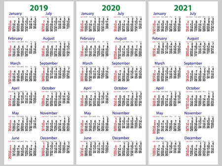 Calendar grid for 2019, 2020 and 2021 years set. The week starts on Sunday. One day off is Sunday. Simple vertical template in English. Vector illustration