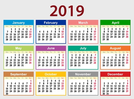 Multicolored calendar grid for 2019 in English. The week starts on Monday. The day off is Sunday. Vector illustration. 일러스트