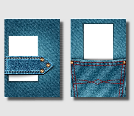 Advertising poster design template with blue denim background and with sewn jeans elements. Can be used to design leaflets, brochure cover or banner. Vector illustration 写真素材 - 110431418