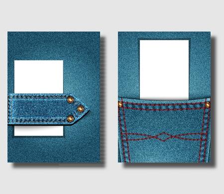 Szablon projektu plakatu reklamowego z niebieskim denimowym tłem i szytymi elementami dżinsów. Może służyć do projektowania ulotek, okładek broszur lub banerów. Ilustracja wektorowa