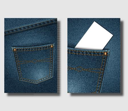 Modello di cartellonistica pubblicitaria con sfondo blu denim e con tasche cucite. Può essere utilizzato per progettare volantini, copertine di brochure o banner. Illustrazione vettoriale Vettoriali