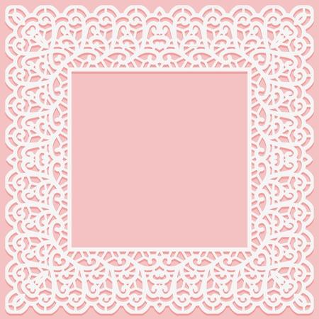 White lace square frame on a pink background. Suitable for laser cutting. Vector illustration Vektoros illusztráció