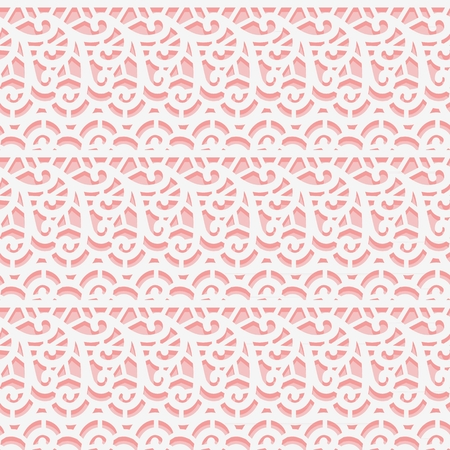 Simple lace fabric. Seamless white pattern on pink background. Vector illustration  イラスト・ベクター素材