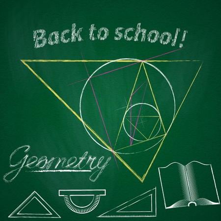 Concept of education. Subject of lesson geometry. School background with geometric drawing and hand drawn elements for design with Back to School lettering on blackboard. Vector illustration
