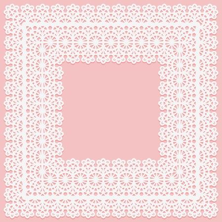 Napperon carré en dentelle blanche sur fond rose. Convient pour la découpe laser Illustration vectorielle