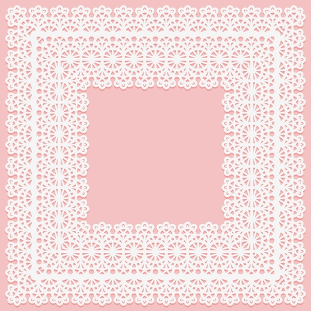 White lace square doily on a pink background. Suitable for laser cutting Vector illustration