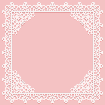 White Openwork square frame with lace corners on a pink background. Suitable for laser cutting. Vector illustration 矢量图片