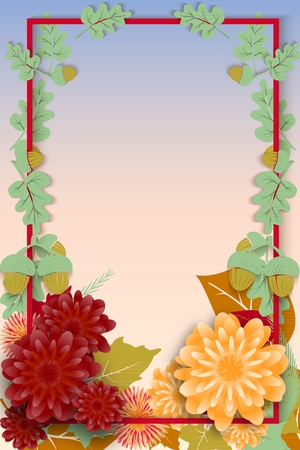 Concept for the steam autumn sale with autumn flowers and leaves. Sample vertical template for design. Vector illustration.